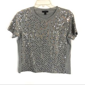 J Crew metallic sequins T shirt gray and silver